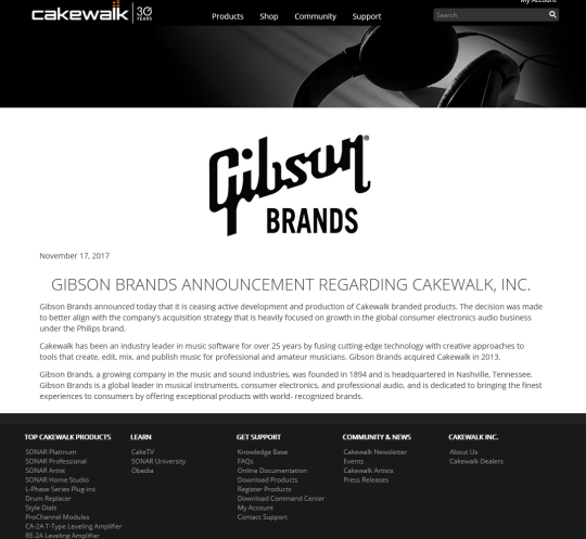 gibson-brands-announcements-sonar-cakewalk-axed